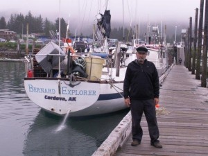 Captain Bob Bernard beside his boat  as he prepared to leave Cordova
