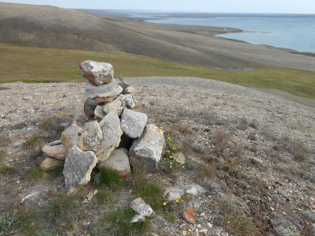 Inukshuk above the mouth of the Sachs River, Banks Island