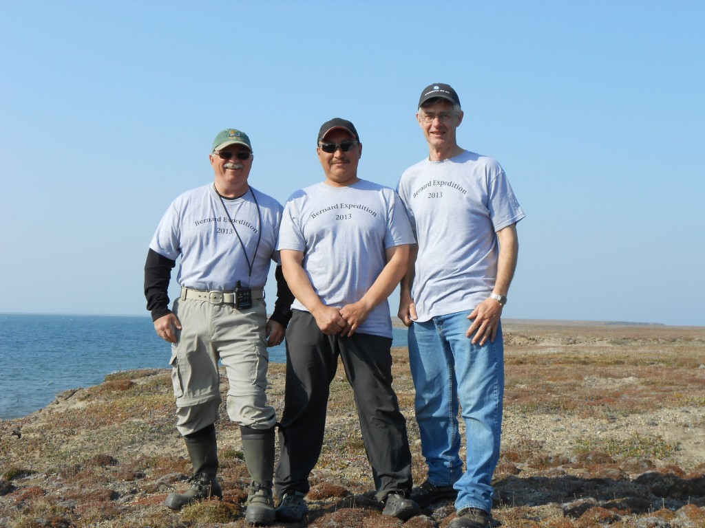 "Mack, John Jr, and David wearing ""Bernard Expedition 2013"" T-shirts at Blue Fox"