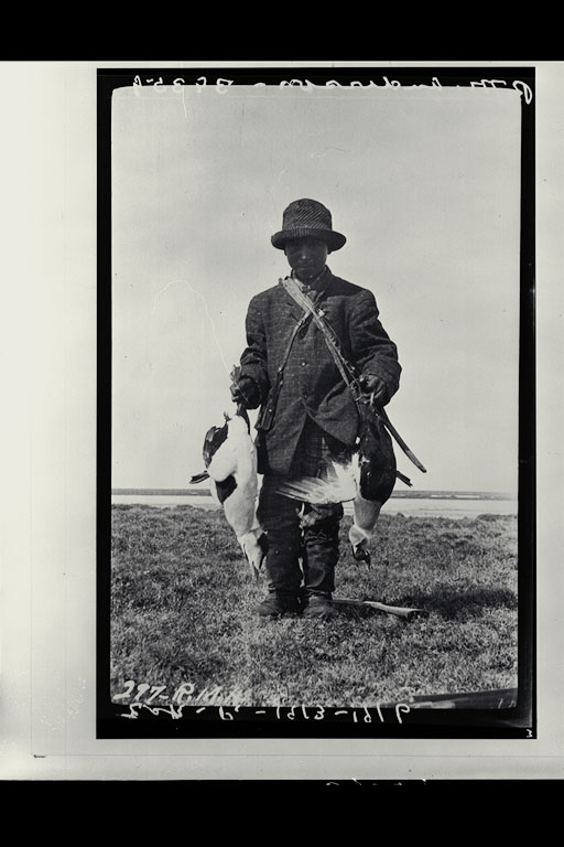 Patsy Klengenberg, youngest member of the CAE, with eider ducks, Bernard Harbour 1915